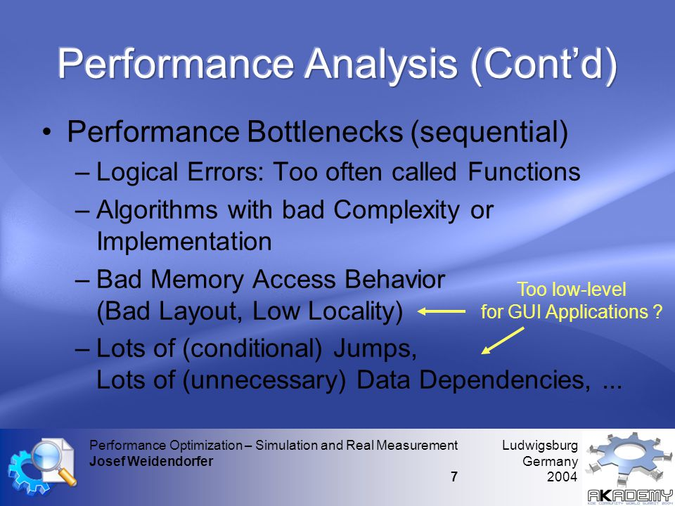 Ludwigsburg Germany 2004 Performance Optimization – Simulation and Real Measurement Josef Weidendorfer 7 •Performance Bottlenecks (sequential) –Logical Errors: Too often called Functions –Algorithms with bad Complexity or Implementation –Bad Memory Access Behavior (Bad Layout, Low Locality) –Lots of (conditional) Jumps, Lots of (unnecessary) Data Dependencies,...