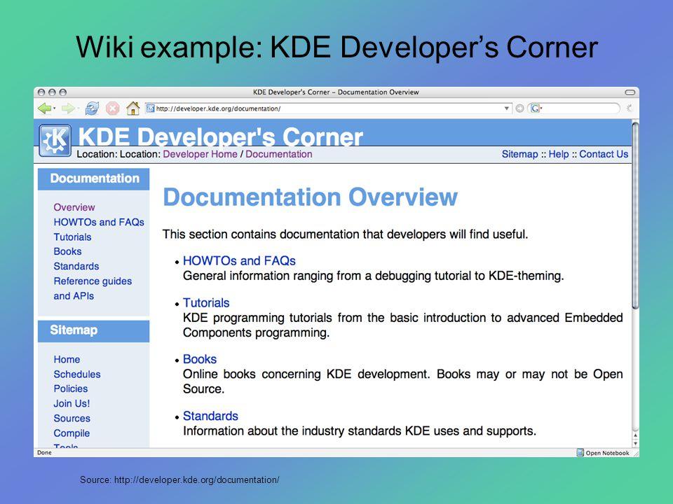 Wiki example: KDE Developer's Corner Source: http://developer.kde.org/documentation/