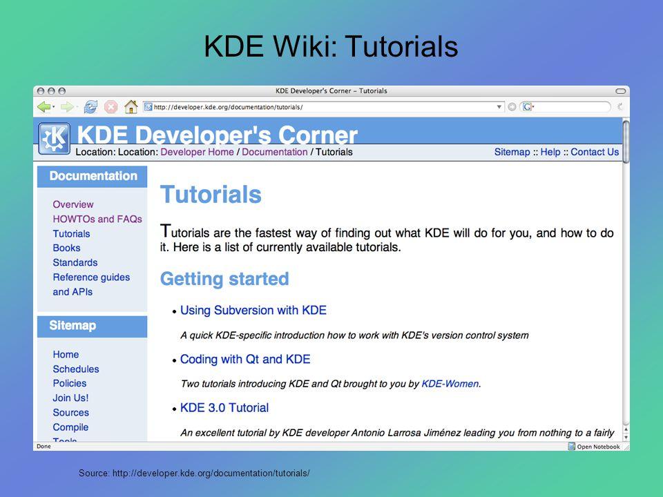 KDE Wiki: Tutorials Source: http://developer.kde.org/documentation/tutorials/