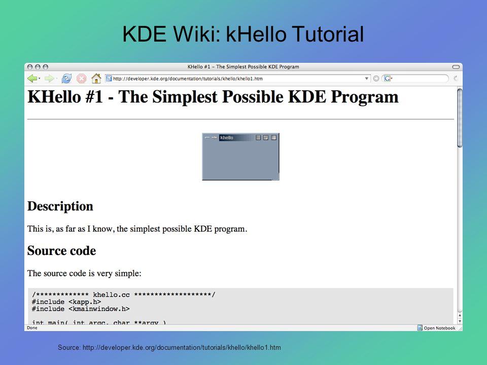 KDE Wiki: kHello Tutorial Source: http://developer.kde.org/documentation/tutorials/khello/khello1.htm