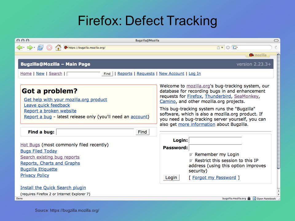 Firefox: Defect Tracking Source: https://bugzilla.mozilla.org/