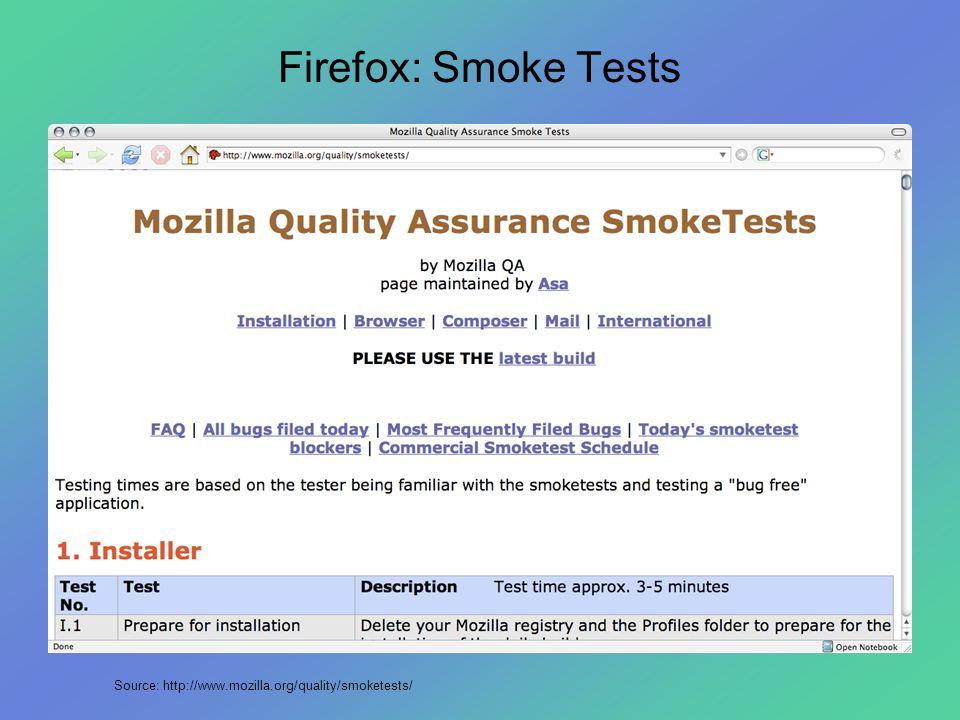 Firefox: Smoke Tests Source: http://www.mozilla.org/quality/smoketests/