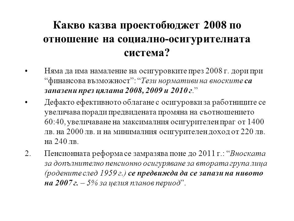 Какво казва проектобюджет 2008 по отношение на социално-осигурителната система.
