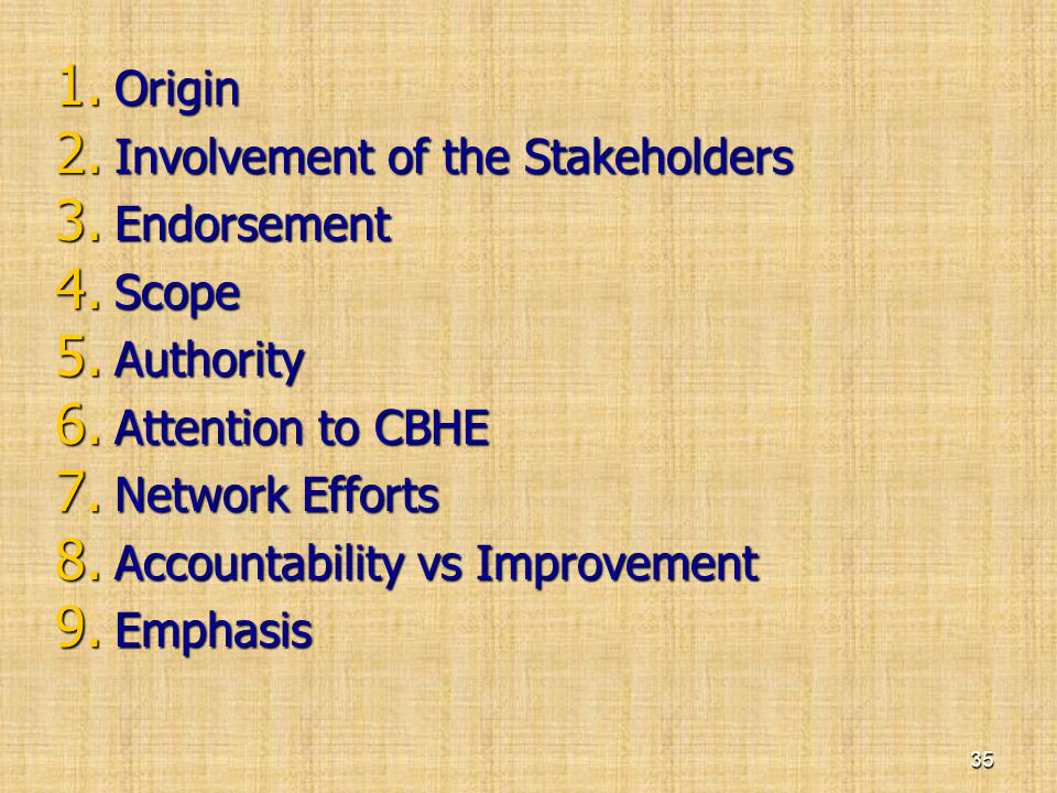 1. Origin 2. Involvement of the Stakeholders 3. Endorsement 4. Scope 5. Authority 6. Attention to CBHE 7. Network Efforts 8. Accountability vs Improve