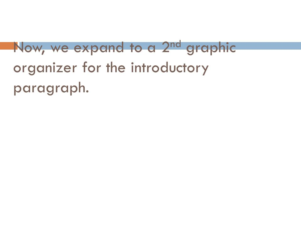 Now, we expand to a 2 nd graphic organizer for the introductory paragraph.
