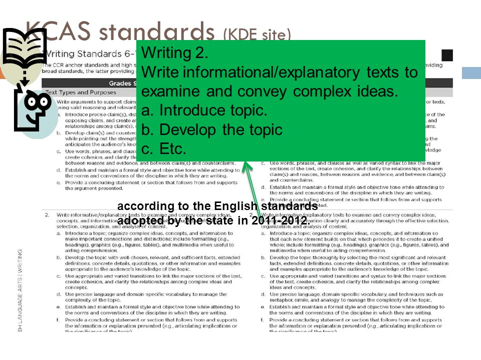KCAS standards (KDE site) Writing 2.