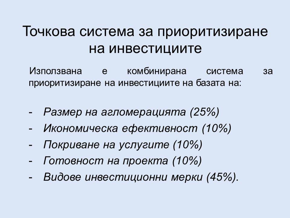 Точкова система за приоритизиране на инвестициите Използвана е комбинирана система за приоритизиране на инвестициите на базата на: -Размер на агломерацията (25%) -Икономическа ефективност (10%) -Покриване на услугите (10%) -Готовност на проекта (10%) -Видове инвестиционни мерки (45%).