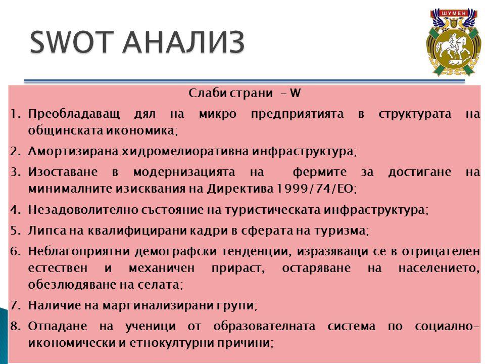 Слаби страни - W 1.Преобладаващ дял на микро предприятията в структурата на общинската икономика; 2.Амортизирана хидромелиоративна инфраструктура; 3.Изоставане в модернизацията на фермите за достигане на минималните изисквания на Директива 1999/74/ЕО; 4.Незадоволително състояние на туристическата инфраструктура; 5.Липса на квалифицирани кадри в сферата на туризма; 6.Неблагоприятни демографски тенденции, изразяващи се в отрицателен естествен и механичен прираст, остаряване на населението, обезлюдяване на селата; 7.Наличие на маргинализирани групи; 8.Отпадане на ученици от образователната система по социално- икономически и етнокултурни причини;