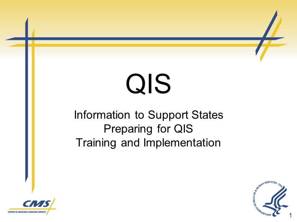 QIS Information to Support States Preparing for QIS Training and Implementation 1