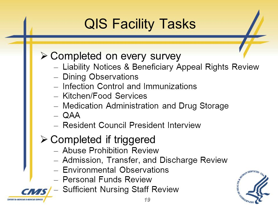 19 QIS Facility Tasks  Completed on every survey – Liability Notices & Beneficiary Appeal Rights Review – Dining Observations – Infection Control and Immunizations – Kitchen/Food Services – Medication Administration and Drug Storage – QAA – Resident Council President Interview  Completed if triggered – Abuse Prohibition Review – Admission, Transfer, and Discharge Review – Environmental Observations – Personal Funds Review – Sufficient Nursing Staff Review