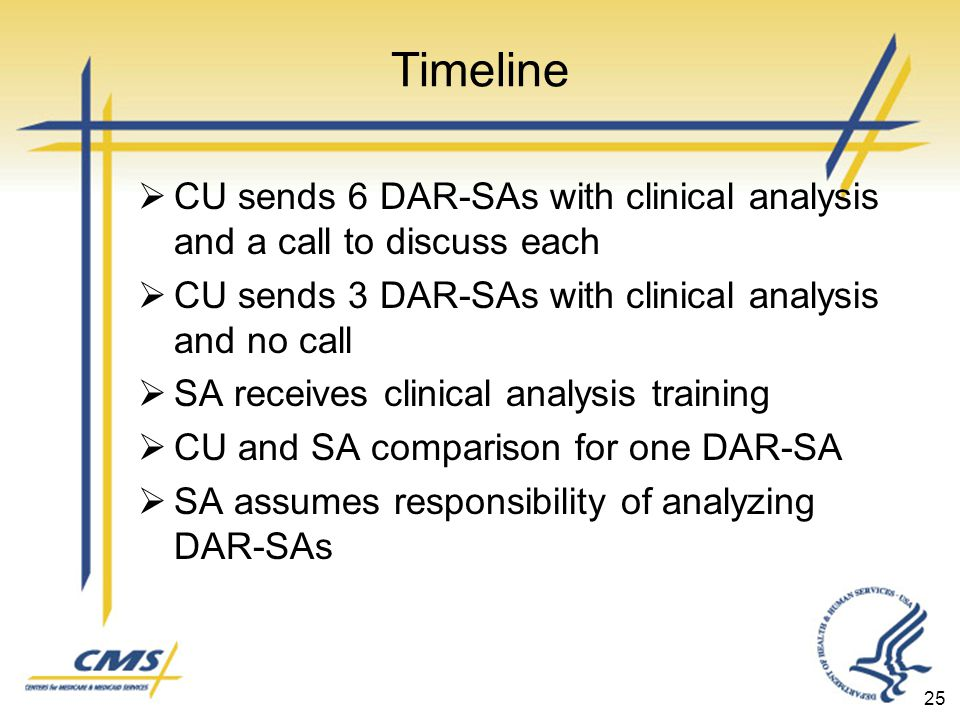 25 Timeline  CU sends 6 DAR-SAs with clinical analysis and a call to discuss each  CU sends 3 DAR-SAs with clinical analysis and no call  SA receives clinical analysis training  CU and SA comparison for one DAR-SA  SA assumes responsibility of analyzing DAR-SAs