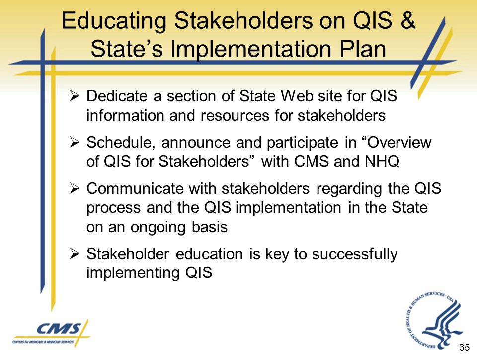 Educating Stakeholders on QIS & State's Implementation Plan  Dedicate a section of State Web site for QIS information and resources for stakeholders  Schedule, announce and participate in Overview of QIS for Stakeholders with CMS and NHQ  Communicate with stakeholders regarding the QIS process and the QIS implementation in the State on an ongoing basis  Stakeholder education is key to successfully implementing QIS 35