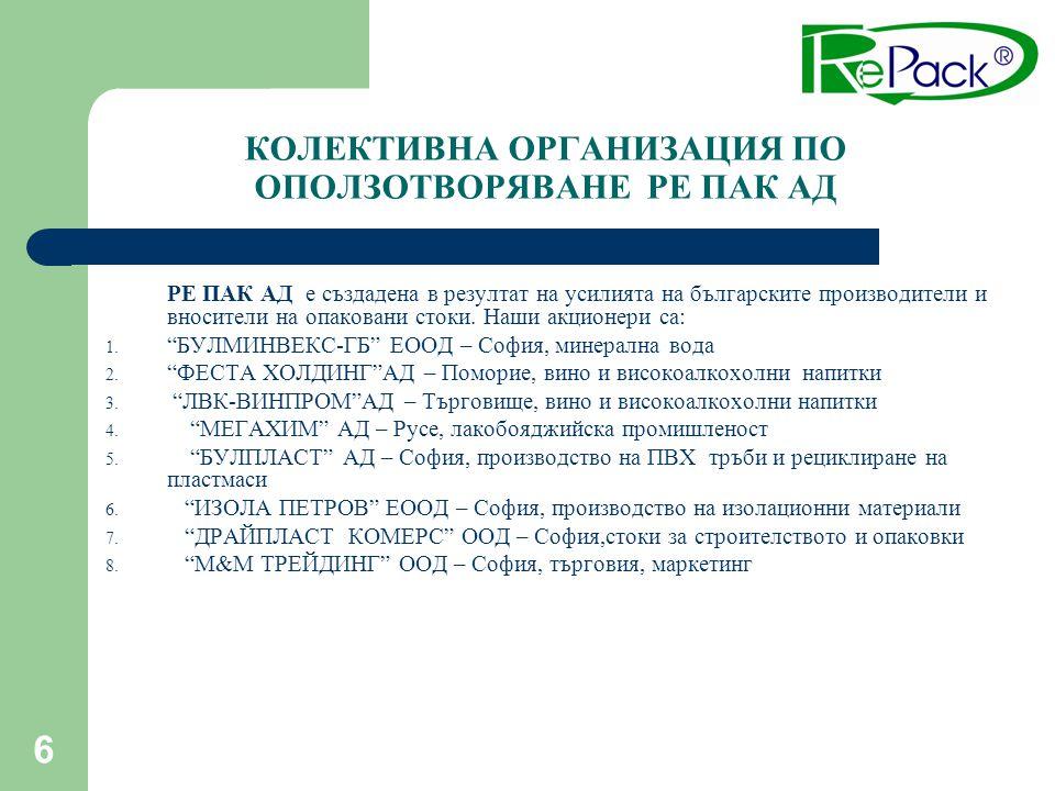 6 КОЛЕКТИВНА ОРГАНИЗАЦИЯ ПО ОПОЛЗОТВОРЯВАНЕ РЕ ПАК АД РЕ ПАК АД е създадена в резултат на усилията на българските производители и вносители на опакова