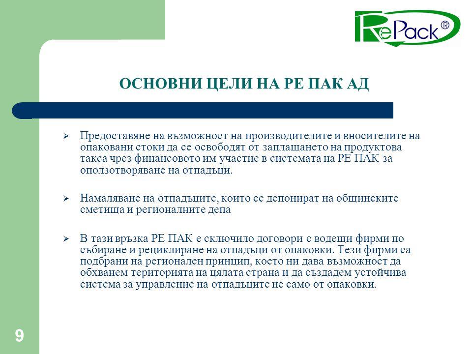9  Предоставяне на възможност на производителите и вносителите на опаковани стоки да се освободят от заплащането на продуктова такса чрез финансовото