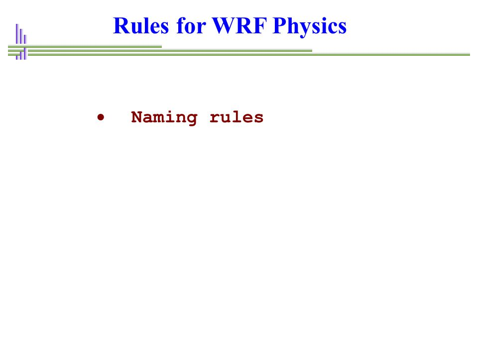 Rules for WRF Physics  Naming rules