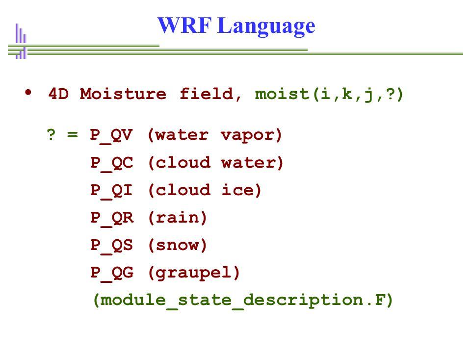 WRF Language • 4D Moisture field, moist(i,k,j,?) .