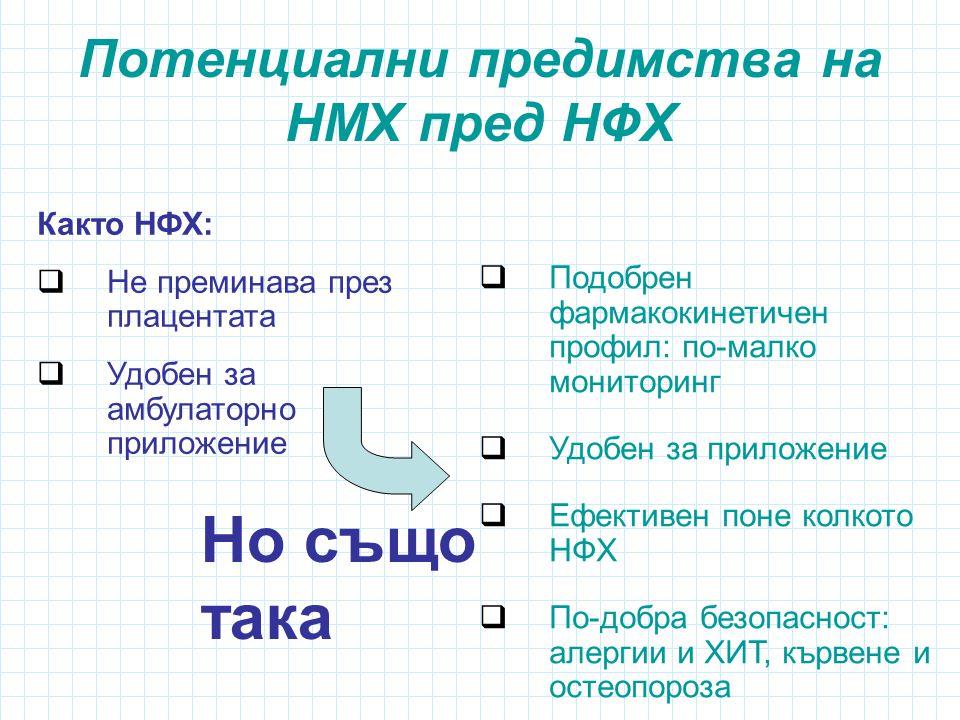 Потенциални предимства на НМХ пред НФХ  Подобрен фармакокинетичен профил: по-малко мониторинг  Удобен за приложение  Ефективен поне колкото НФХ  По-добра безопасност: алергии и ХИТ, кървене и остеопороза Както НФХ:  Не преминава през плацентата  Удобен за амбулаторно приложение Но също така