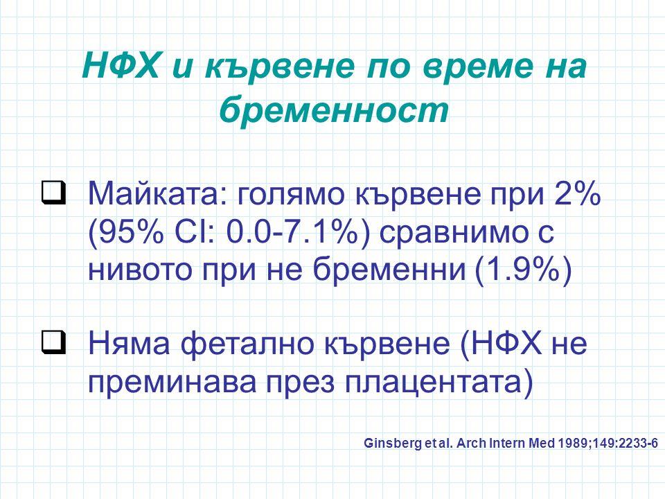 НФХ и кървене по време на бременност  Майката: голямо кървене при 2% (95% CI: 0.0-7.1%) сравнимо с нивото при не бременни (1.9%)  Няма фетално кървене (НФХ не преминава през плацентата) Ginsberg et al.
