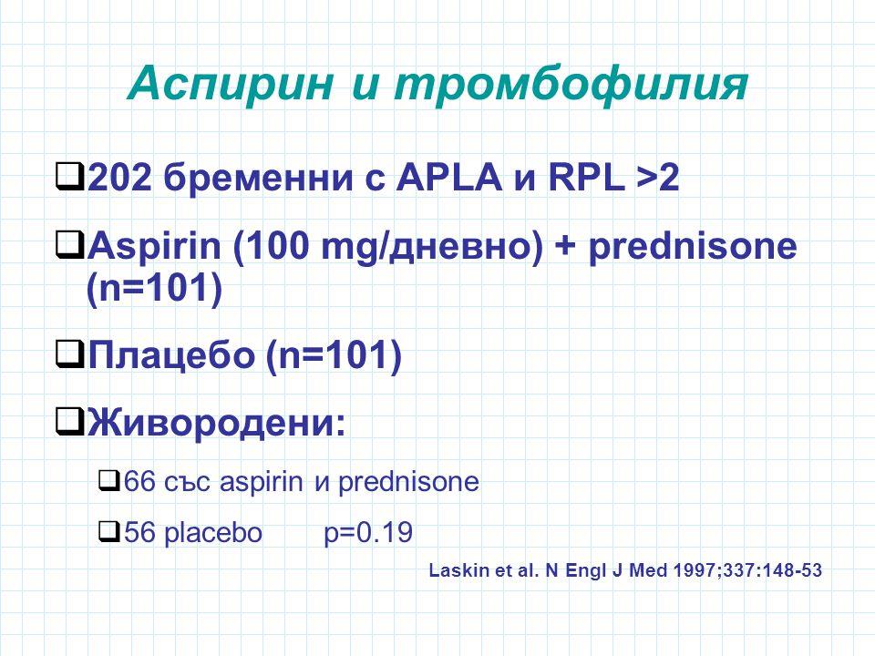 Аспирин и тромбофилия  202 бременни с APLA и RPL >2  Aspirin (100 mg/дневно) + prednisone (n=101)  Плацебо (n=101)  Живородени:  66 със aspirin и prednisone  56 placebo p=0.19 Laskin et al.