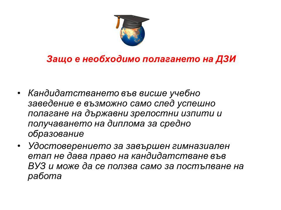 Защо е необходимо полагането на ДЗИ •Кандидатстването във висше учебно заведение е възможно само след успешно полагане на държавни зрелостни изпити и получаването на диплома за средно образование •Удостоверението за завършен гимназиален етап не дава право на кандидатстване във ВУЗ и може да се ползва само за постъпване на работа