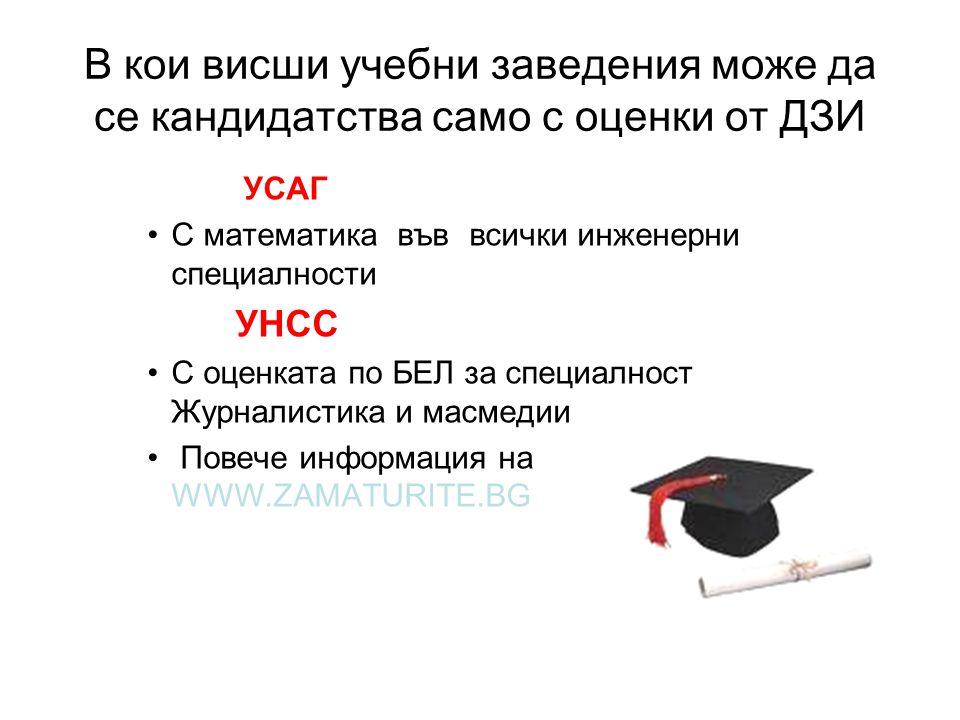 В кои висши учебни заведения може да се кандидатства само с оценки от ДЗИ УСАГ •С математика във всички инженерни специалности УНСС •С оценката по БЕЛ за специалност Журналистика и масмедии • Повече информация на WWW.ZAMATURITE.BG