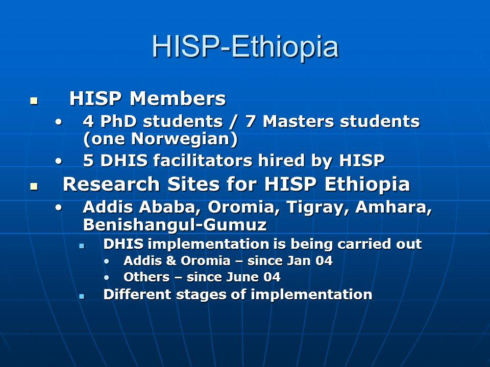 HISP-Ethiopia  HISP Members •4 PhD students / 7 Masters students (one Norwegian) •5 DHIS facilitators hired by HISP  Research Sites for HISP Ethiopi