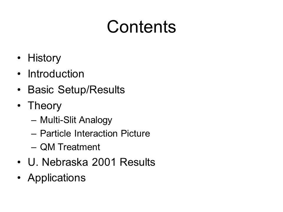 Contents •History •Introduction •Basic Setup/Results •Theory –Multi-Slit Analogy –Particle Interaction Picture –QM Treatment •U.
