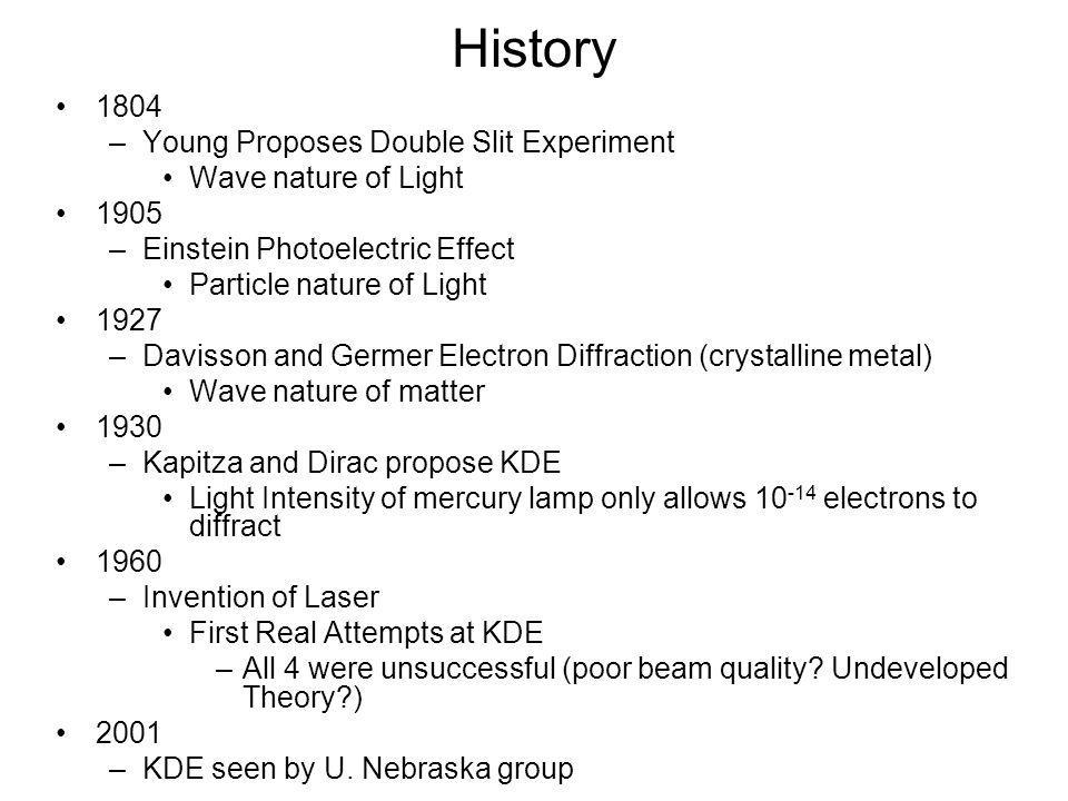 History •1804 –Young Proposes Double Slit Experiment •Wave nature of Light •1905 –Einstein Photoelectric Effect •Particle nature of Light •1927 –Davisson and Germer Electron Diffraction (crystalline metal) •Wave nature of matter •1930 –Kapitza and Dirac propose KDE •Light Intensity of mercury lamp only allows electrons to diffract •1960 –Invention of Laser •First Real Attempts at KDE –All 4 were unsuccessful (poor beam quality.