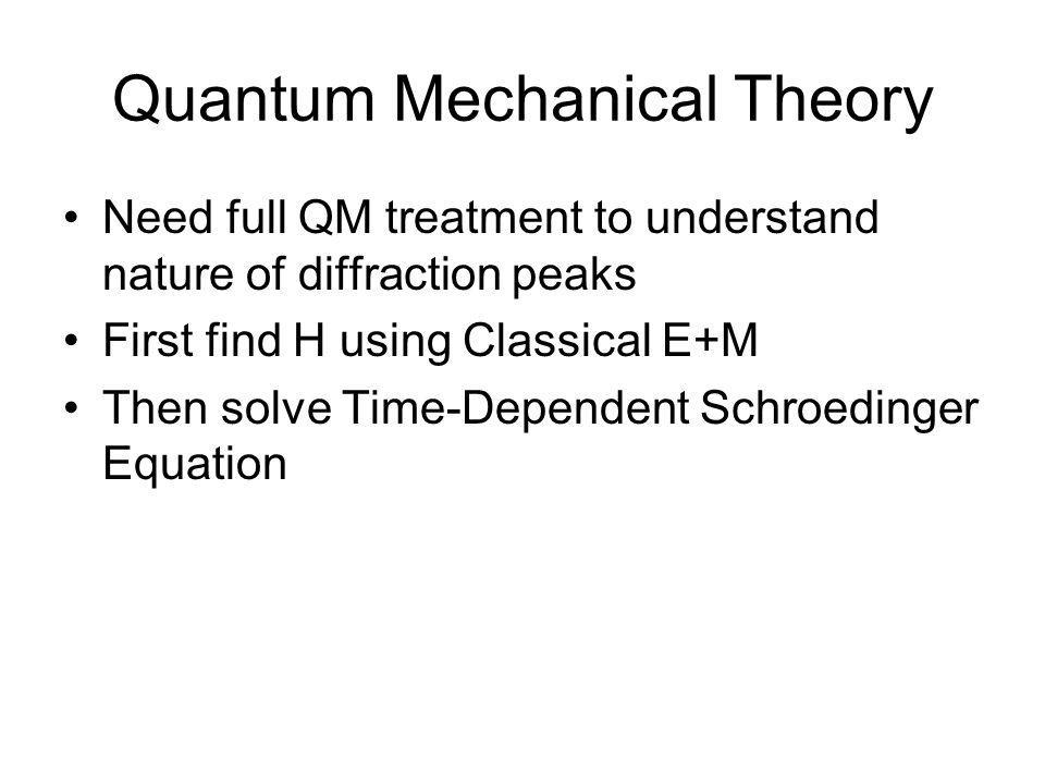 Quantum Mechanical Theory •Need full QM treatment to understand nature of diffraction peaks •First find H using Classical E+M •Then solve Time-Dependent Schroedinger Equation