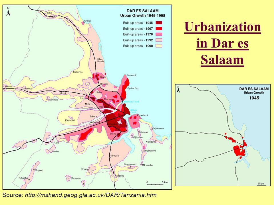 Urbanization in Dar es Salaam Source: http://mshand.geog.gla.ac.uk/DAR/Tanzania.htm