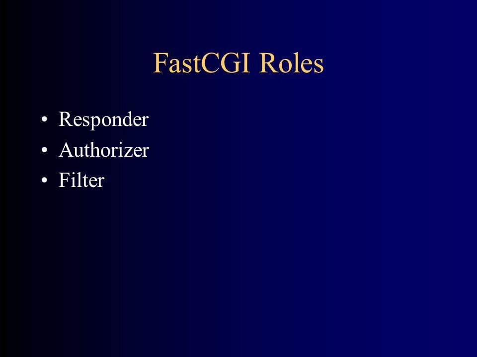 FastCGI Roles •Responder •Authorizer •Filter