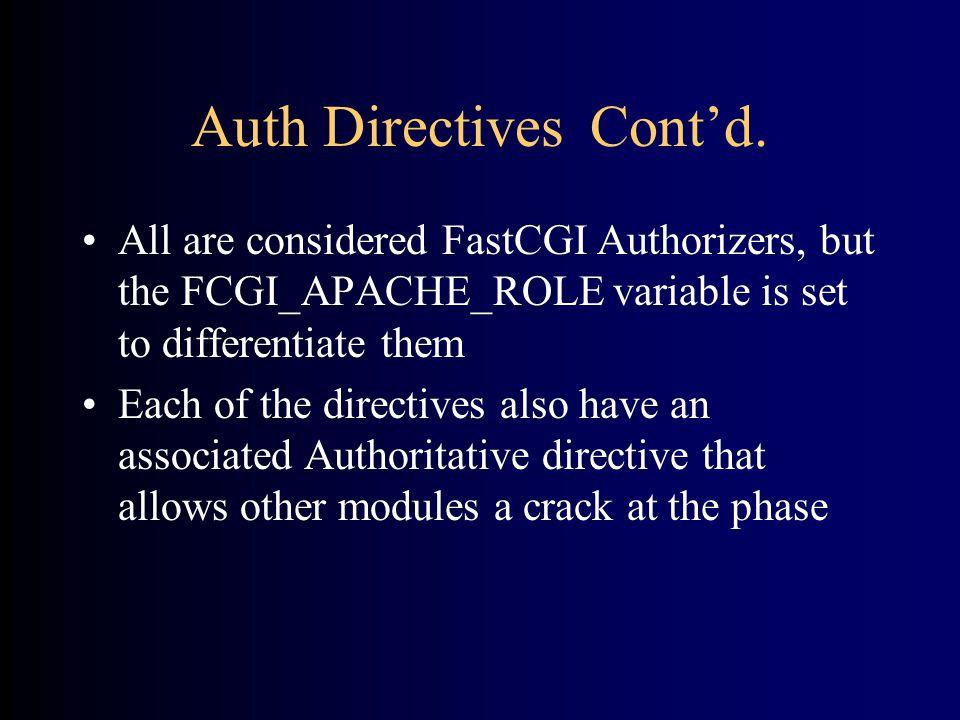 Auth Directives Cont'd.