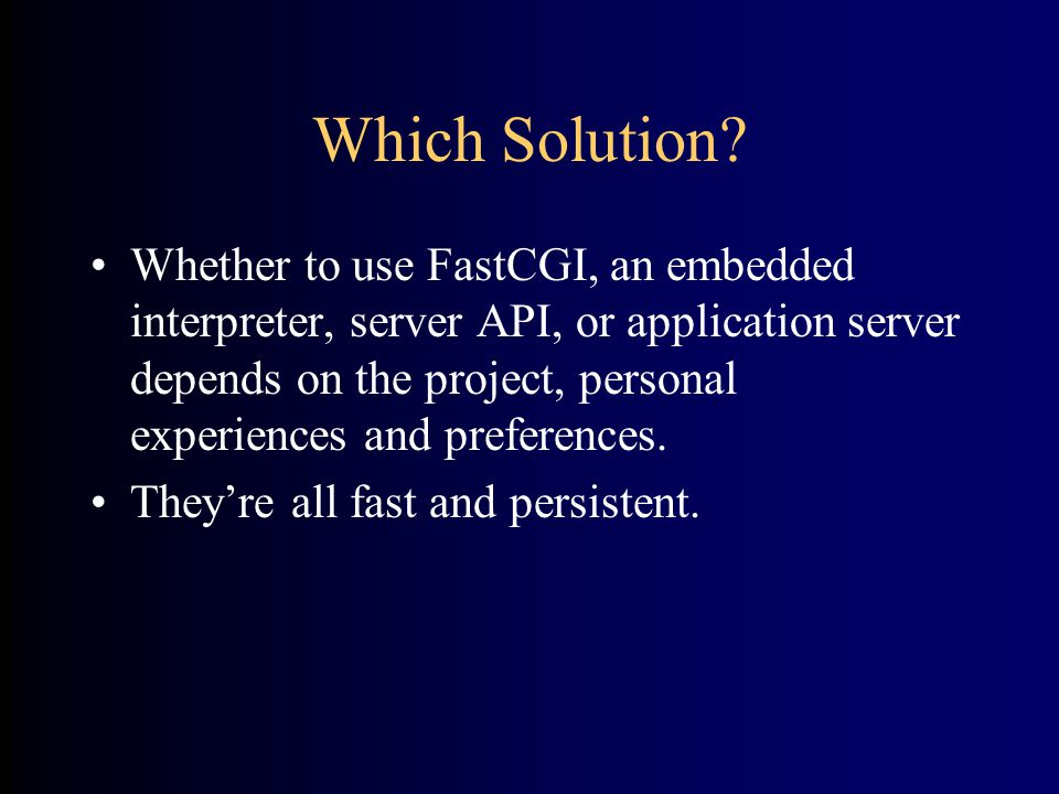 Which Solution.