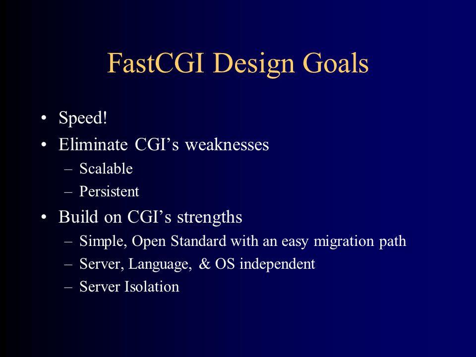 FastCGI Design Goals •Speed.