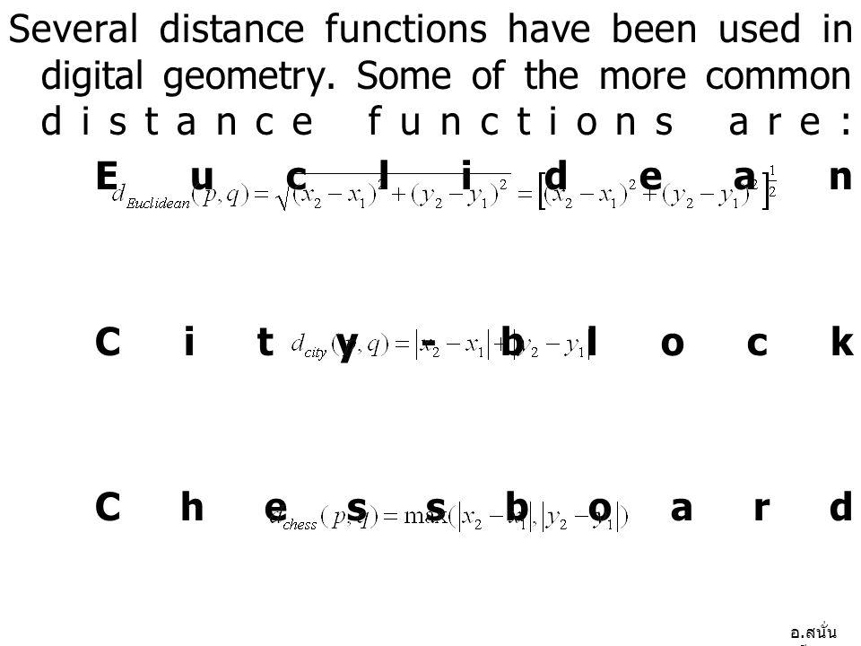 อ.สนั่น ศรีสุข Several distance functions have been used in digital geometry.