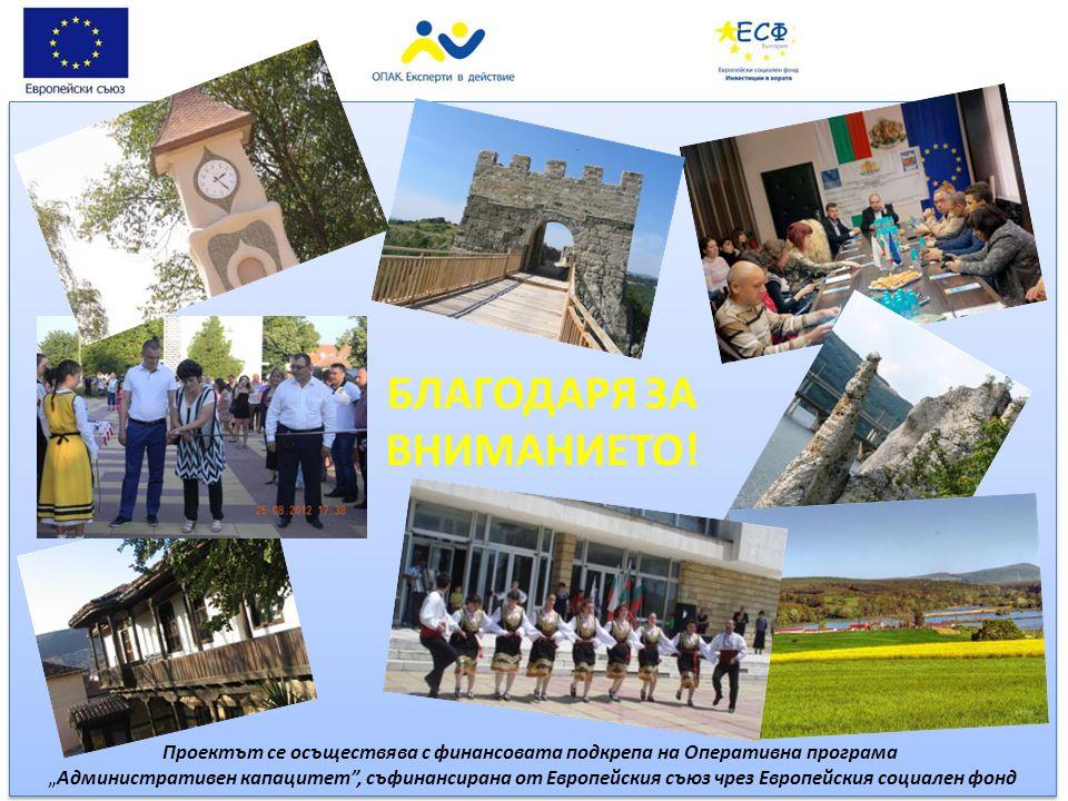 """БЛАГОДАРЯ ЗА ВНИМАНИЕТО! Проектът се осъществява с финансовата подкрепа на Оперативна програма """"Административен капацитет"""", съфинансирана от Европейск"""