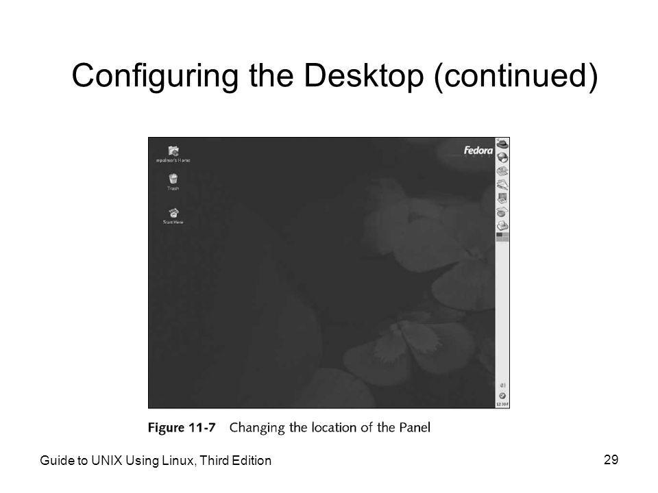Guide to UNIX Using Linux, Third Edition 29 Configuring the Desktop (continued)