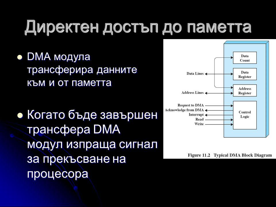 Директен достъп до паметта  DMA модула трансферира данните към и от паметта  Когато бъде завършен трансфера DMA модул изпраща сигнал за прекъсване на процесора