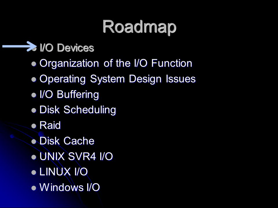 Roadmap  I/O Devices  Organization of the I/O Function  Operating System Design Issues  I/O Buffering  Disk Scheduling  Raid  Disk Cache  UNIX SVR4 I/O  LINUX I/O  Windows I/O