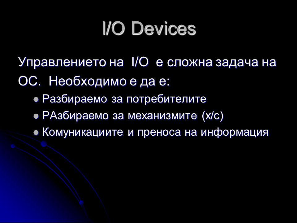 I/O Devices Управлението на I/O е сложна задача на ОС. Необходимо е да е:  Разбираемо за потребителите  РАзбираемо за механизмите (х/с)  Комуникаци