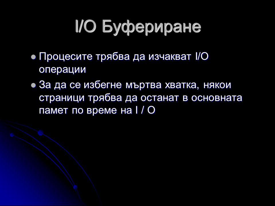I/O Буфериране  Процесите трябва да изчакват I/O операции  За да се избегне мъртва хватка, някои страници трябва да останат в основната памет по време на I / O