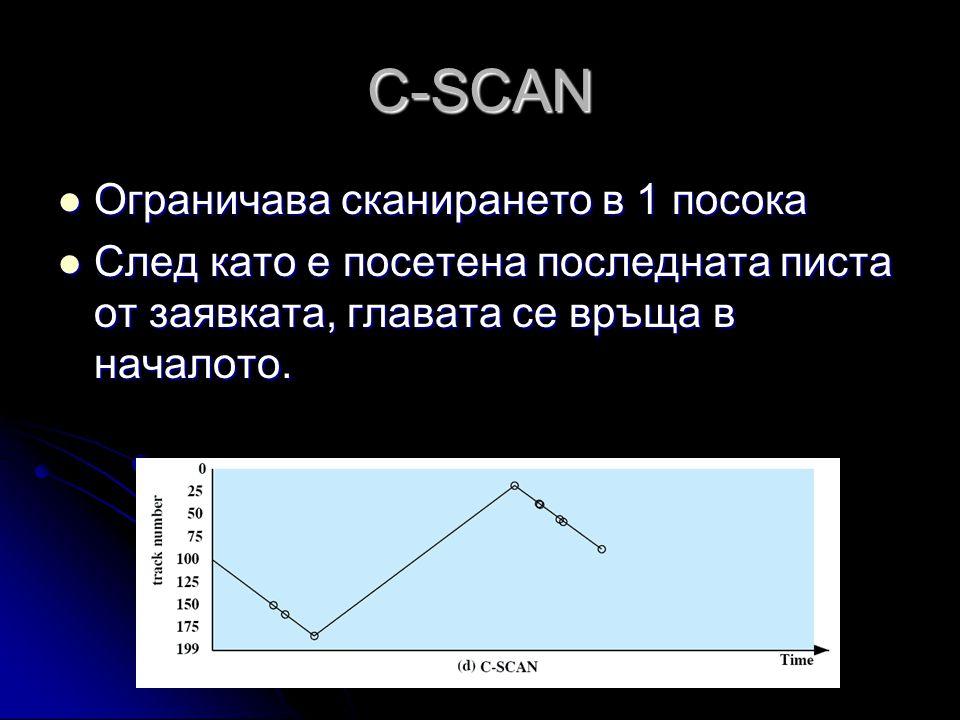 C-SCAN  Ограничава сканирането в 1 посока  След като е посетена последната писта от заявката, главата се връща в началото.