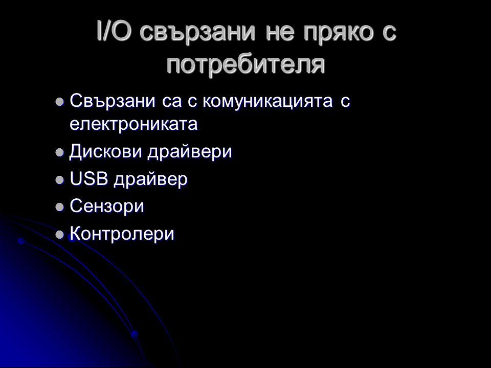 I/O свързани не пряко с потребителя  Свързани са с комуникацията с електрониката  Дискови драйвери  USB драйвер  Сензори  Контролери