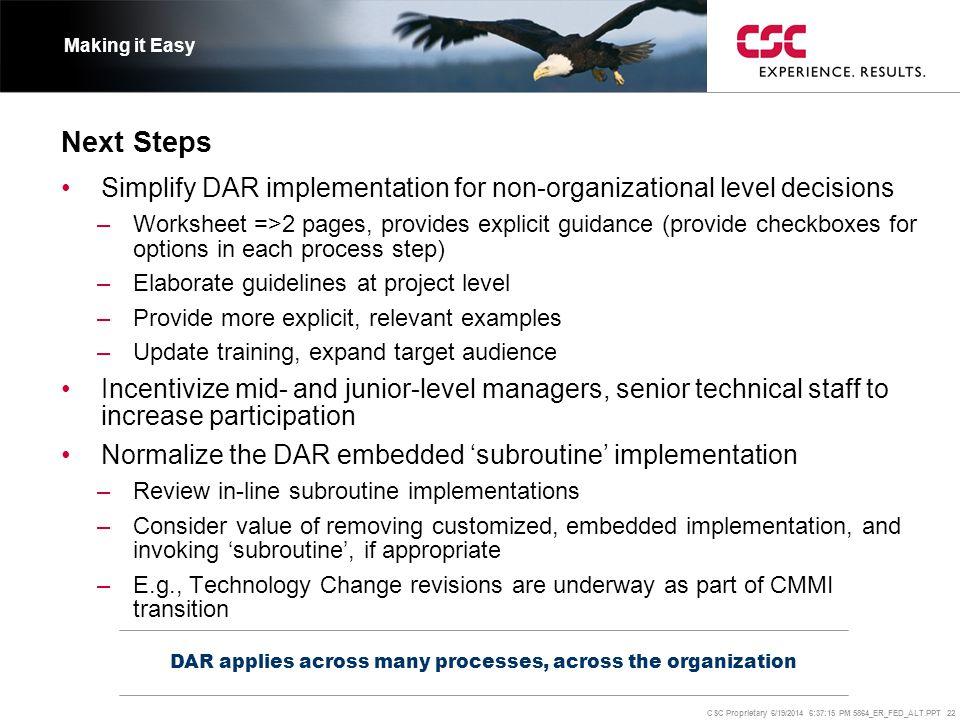 CSC Proprietary 6/19/2014 6:37:37 PM 5864_ER_FED_ALT.PPT 22 Next Steps DAR applies across many processes, across the organization Making it Easy •Simp