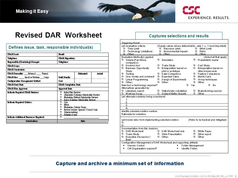 CSC Proprietary 6/19/2014 6:37:37 PM 5864_ER_FED_ALT.PPT 23 Revised DAR Worksheet Capture and archive a minimum set of information Making it Easy Defi