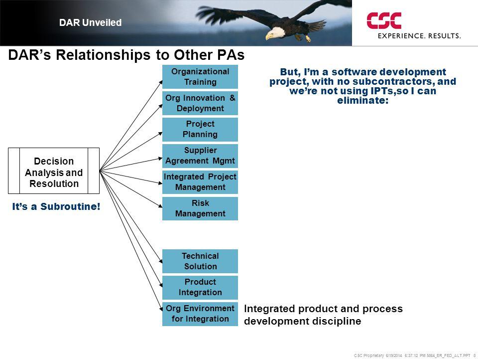 CSC Proprietary 6/19/2014 6:37:37 PM 5864_ER_FED_ALT.PPT 19 And developed a DAR Worksheet.