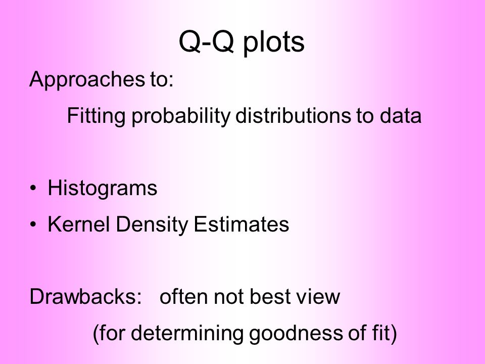 Q-Q plots Approaches to: Fitting probability distributions to data •Histograms •Kernel Density Estimates Drawbacks: often not best view (for determining goodness of fit)