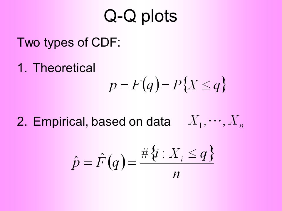 Q-Q plots Two types of CDF: 1.Theoretical 2.Empirical, based on data