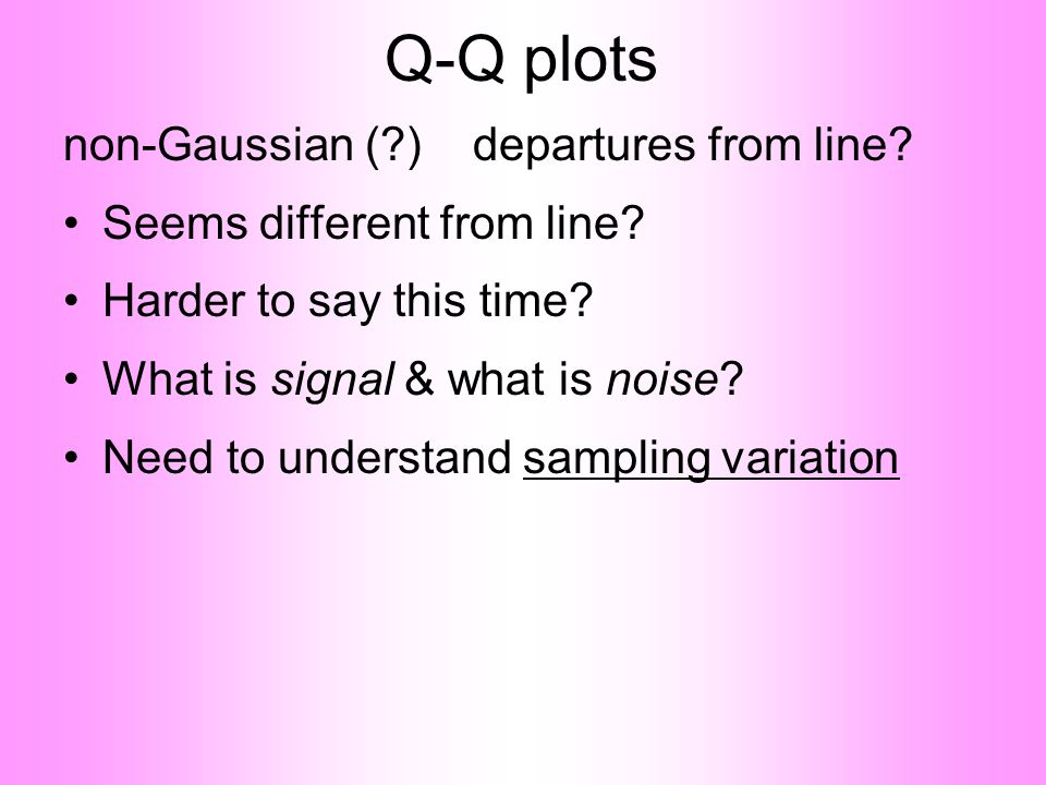 Q-Q plots non-Gaussian (?) departures from line.•Seems different from line.