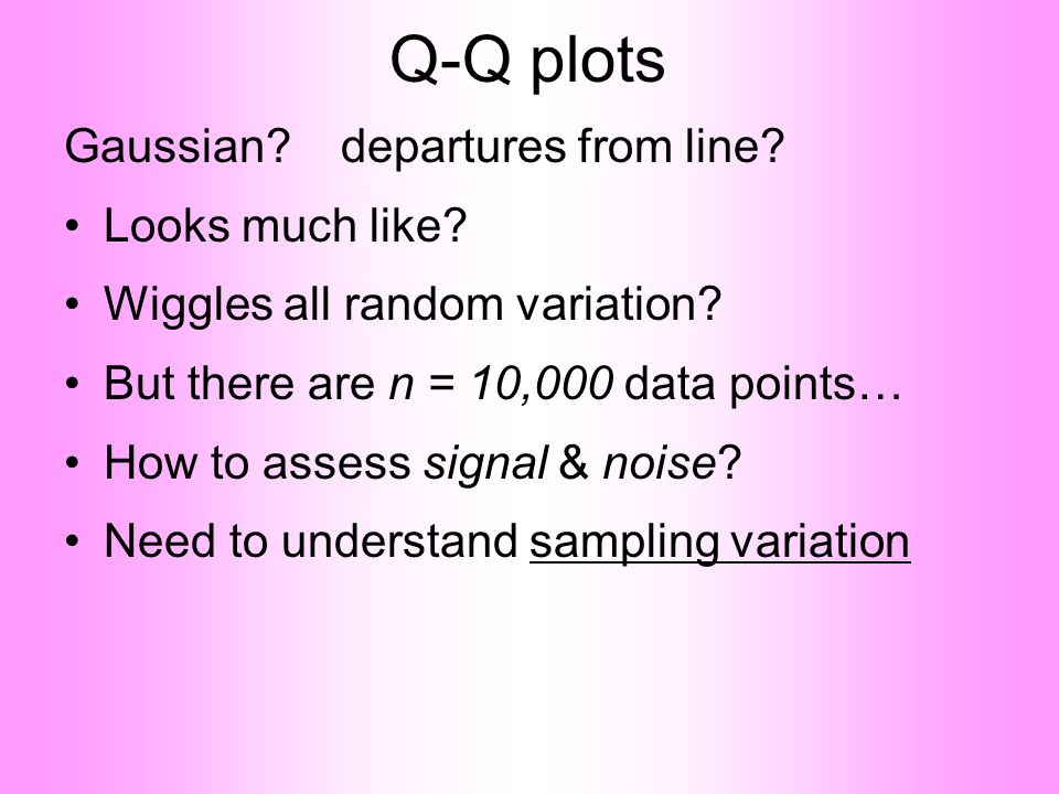 Q-Q plots Gaussian.departures from line. •Looks much like.